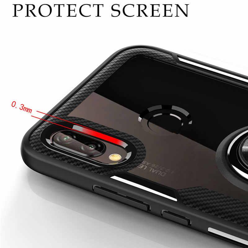 Чехол для huawei P20 Lite, противоударный бампер, прозрачная задняя крышка для huawei p20 Pro p20lite, магнитный автомобильный держатель, кольца, чехлы для телефонов