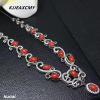 KJJEAXCMY boutique jewelry Women's necklace with 925 silver inlaid with Natural Red Agate Gemstone Necklace