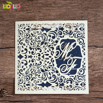 Vintage lace design folded wedding invitation cards 50sets/lot laser cut invitation cards with Free logo on invitaiton cards