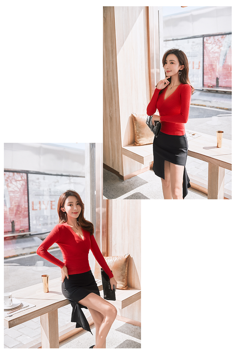 19 New Sexy Deep V Neck Sweater Women's Pullover Casual Slim Bottoming Sweaters Female Elastic Cotton Long Sleeve Tops Femme 24