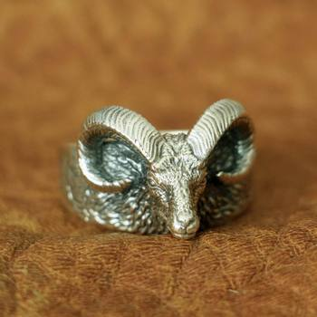 High Details Argali Ring 925 Sterling Silver Mens Biker Punk Ring TA145 US Size 7~15