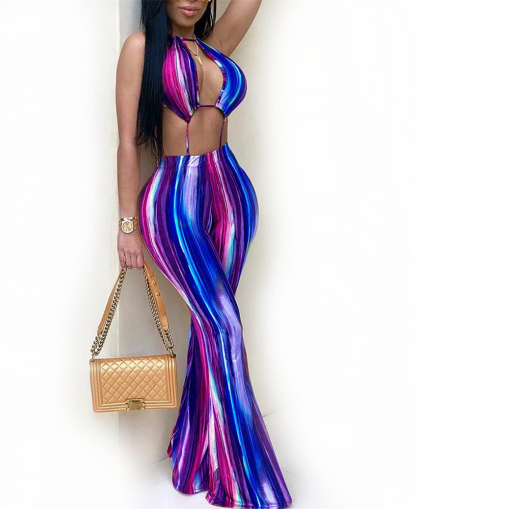 2018 Fashion Original Women Party Plus Size Jumpsuits Clubwear Sexy Colorful Striped Halter Backless Jumpsuit