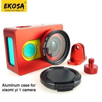 Caixa De Alumínio para Xiaomi Yi EKOSA 1 Ação Da Câmera Quadro de Protecção caso + Tampa Da Lente + UV para Xiaomi Yi Câmera Esporte acessórios