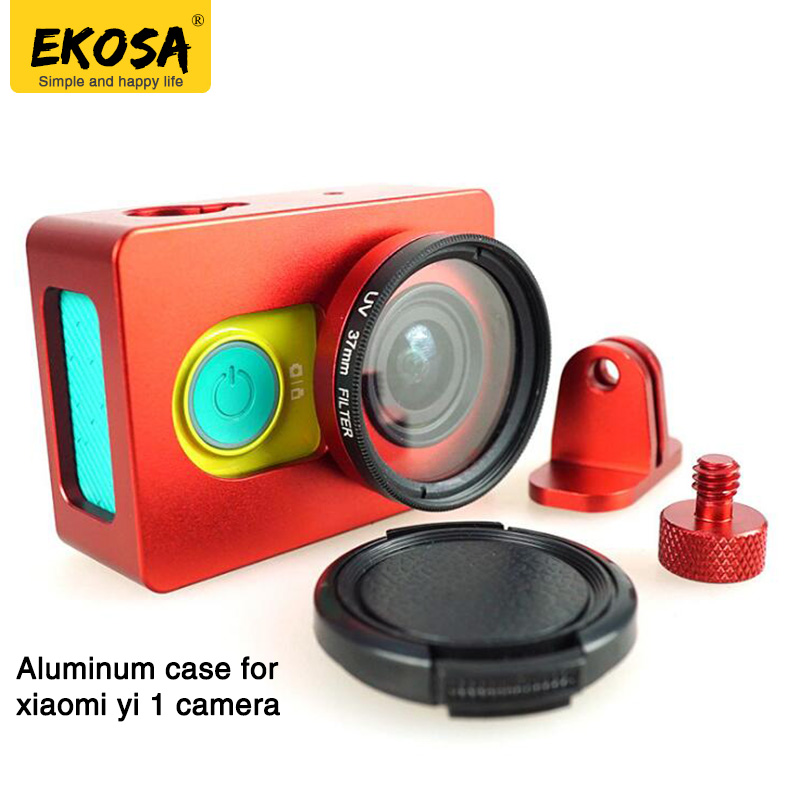EKOSA Aluminum Case for Xiaomi Yi 1 Action Camera Protective Frame Case + Lens Cover + UV for Xiaomi Yi Sport Camera Accessories protective housing side frame case for yi action sports camera