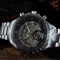 Moda Round Dial Banda de Aço Inoxidável Mecânico Automático de Esqueleto Do Esporte Dos Homens da Qualidade Superior Relógio de Pulso Presente M108