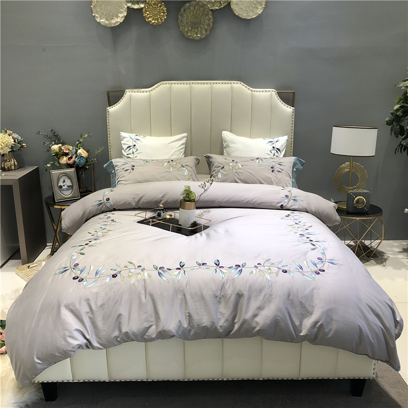 Chic Floral Leaves Embroidery Gray Grey Duvet Cover with Zipper 4/6 Piece Ultra Soft 600TC Egyptian cotton Bedding set Bed sheetChic Floral Leaves Embroidery Gray Grey Duvet Cover with Zipper 4/6 Piece Ultra Soft 600TC Egyptian cotton Bedding set Bed sheet