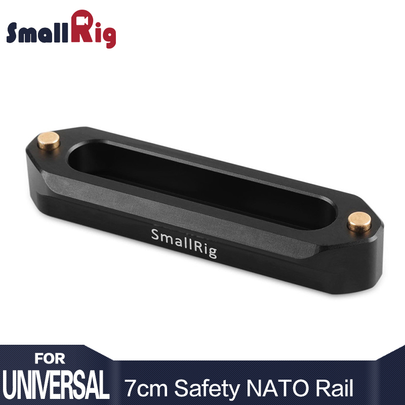 SmallRig Quick Release Safety Nato Rail 70mm Long with Spring Loaded Pins for RED Epic / Scarlet, Black Magic- 1195
