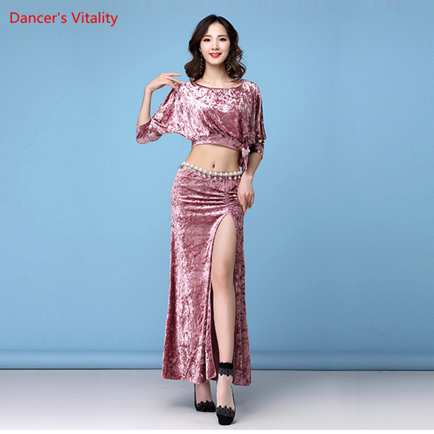 Winter Spring Women Belly Dance Wear Classy Velvet Half Sleeves Classical Belly Dance Costume Set Top And Skirt For Girl