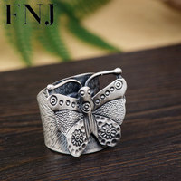 FNJ 925 Silver Butterfly Ring Original Pure S990 Sterling Thai Silver Rings for Women Jewelry Adjustable Size