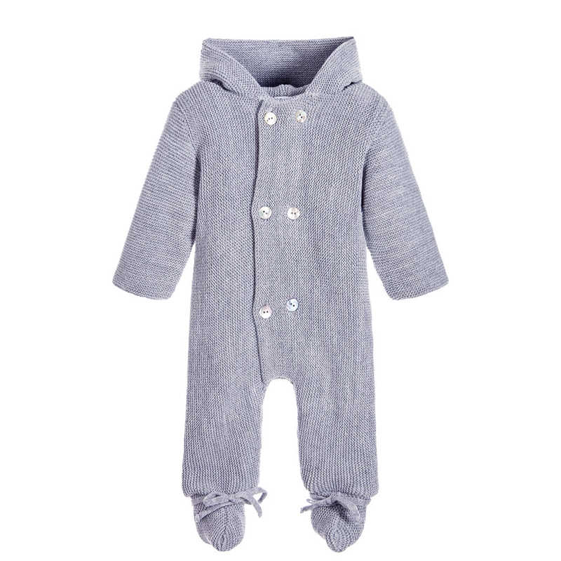86b9c1e21eee ... Luxury Baby Knitted Racoon Fur Collar Jumpsuits Hooded Baby Girl Clothes  Winter Bebe Rompers Boys Girls ...