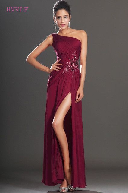 Burgundy   Evening     Dresses   2019 Sheath One-shoulder Chiffon Beaded Slit Plus Size Long   Evening   Gown Prom   Dresses   Robe De Soiree