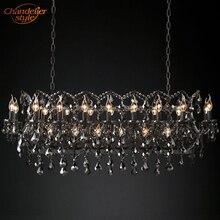 19th C Lámpara de araña Rectangular rococó de hierro y cristal, lámpara colgante lineal gris de cristal para sala de estar comedor