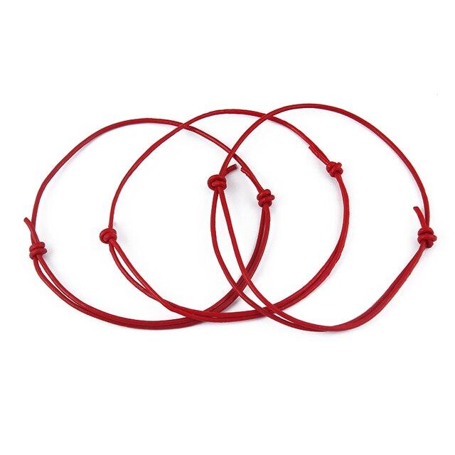 50 pz/lotto Handmade Rosso Nero Vera Pelle Cavo Della Stringa Kabbalah Fortunato Bracciali & Pulseras & Bangle Moda Donna Uomo Gioielli regalo