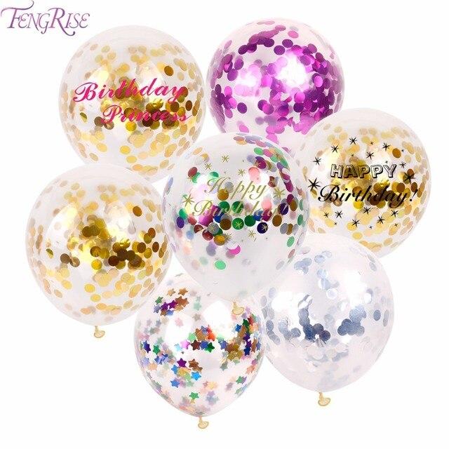 Fengrise 5 Pcs Joyeux Anniversaire Ballons De Confettis En Or Décoration De Fête Danniversaire Ballon Ballon En Latex De Décoration De Mariage