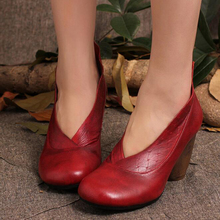 Women's shoes with heels 2017 Retro Style Handmade Shoes Women Chunky Heels Pumps Round Toe High Heels Genuine Leather z301
