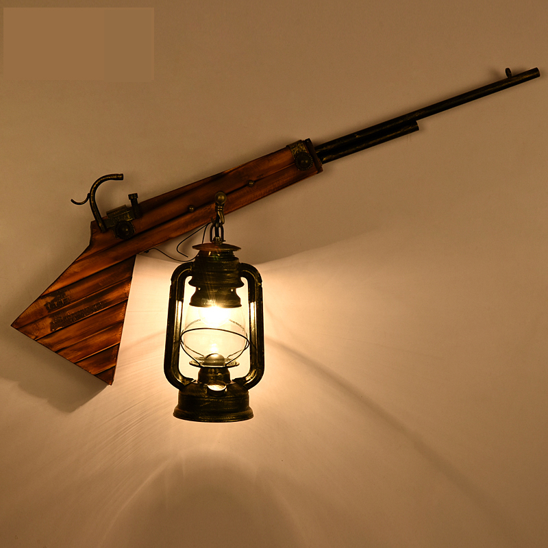 Rural Concise Rifle Wall Lamp Originality Bedside A Living Room Aisle Decoration Northern Europe Art Lamp wl32937
