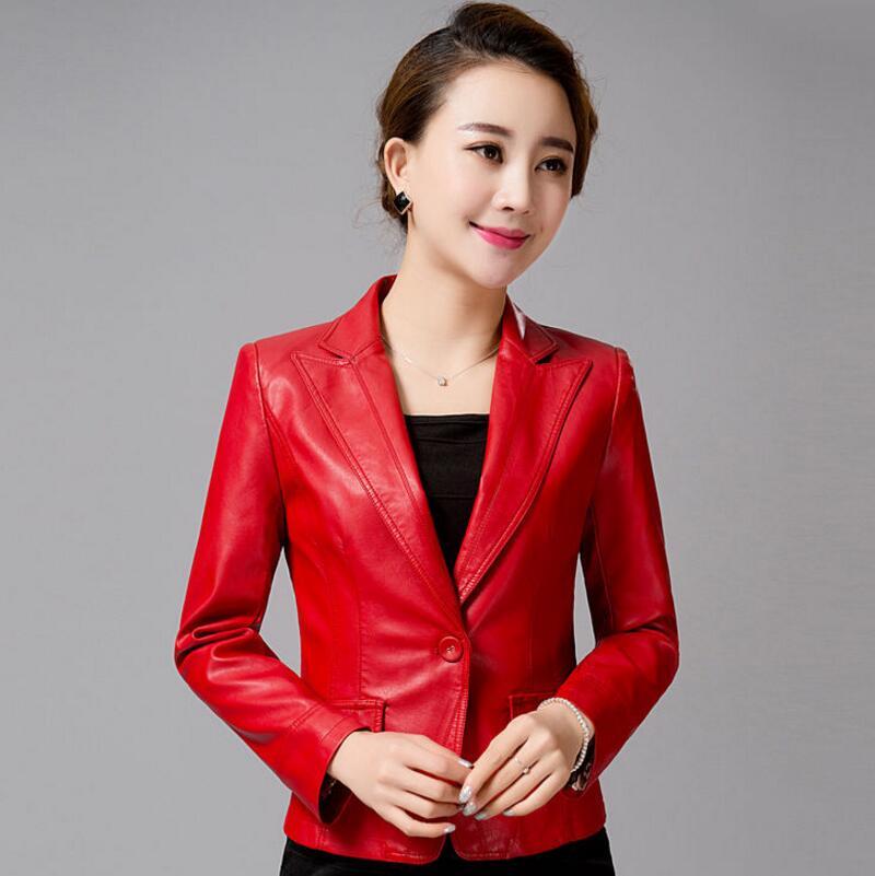 Veste Femmes Manteaux rouge Loisirs Vestes Cuir 4xl Et M Dames Brèves Mode Noir taille En 2017 Plus IqPpI6wx