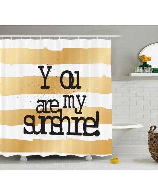 Brown Shower Curtain Love Romance White Ombre Print For Bathroom Waterproof And Fabric Romantic
