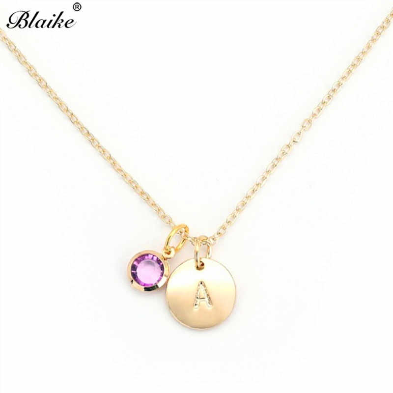 Blaike Personality 26 Letters Pendant Necklace Random Zircon Birthstone Necklaces For Women Gold Color Jewelry Birthday Gifts