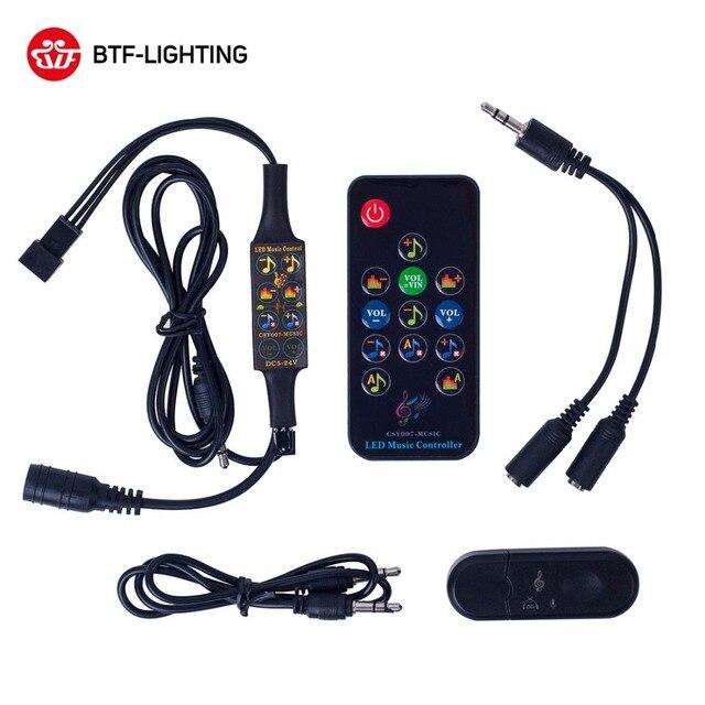Bluetooth Musik Dream Controller DC5-24V Ir/RF dengan Mikrofon 13 Tombol Remote WS2812B WS2811 Strip LED Matrix Panel 512 piksel
