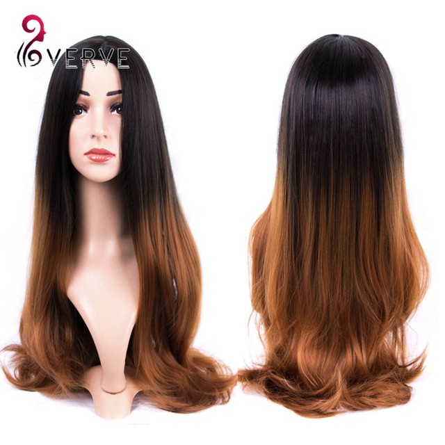 Synthetic Hair Wigs Natural brown Long wavy Heat Resistant Wigs For Black Women VERVES ombre two tone color Womens hair Wigs