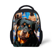 Small Kids Backpack Kindergarten Baby Girls Boys Animal Backpack 3D Dog Rottweiler Print Children Back Pack Mochila Infantil