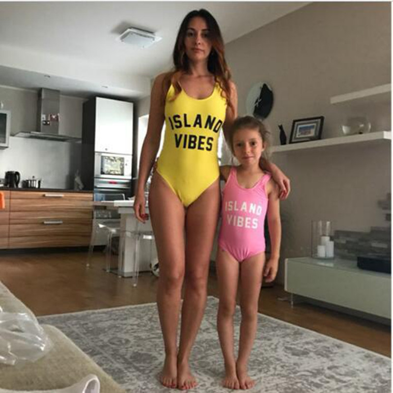 Mom Baby family Swimwear 2018 Sexy One Piece Swimsuit Gils Bather Thong Backless Monokin ...