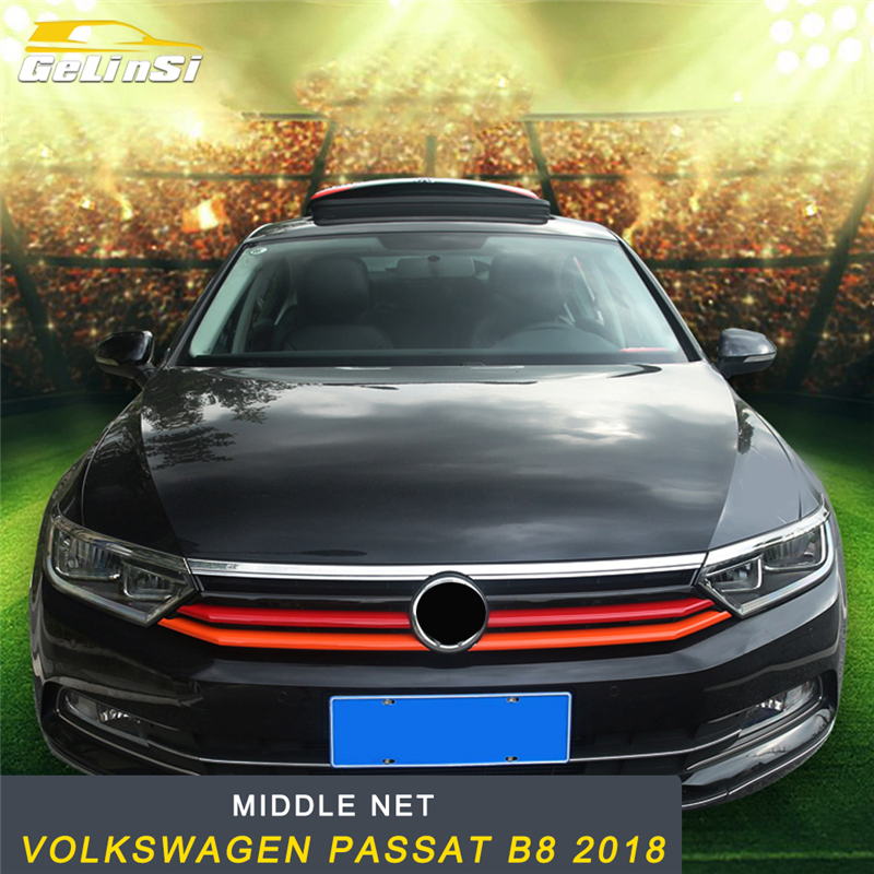 GELINSI capot avant moyen filet pare-chocs Grille cadre autocollant couverture accessoires extérieurs pour Volkswagen Passat B8 2018 style de voiture
