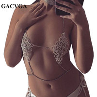 GACVGA 2017 Crystal Crop Top Metal Women Sexy Silver Gold Sparkly Tank Top Backless Club Party