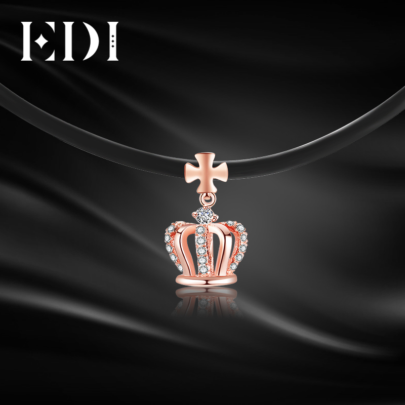 EDI 0.096cttw Real Diamond 18K Rose Gold Pendant Crown Choker Princess Queen Trendy Jewelry