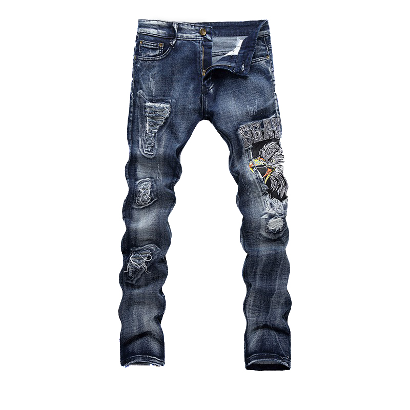 Fashion Men's Jogger Jeans Pant Animals Embroidery Slim Fit Washed Denim Pants Male Ripped Biker Jeans Trousers men s cowboy jeans fashion blue jeans pant men plus sizes regular slim fit denim jean pants male high quality brand jeans