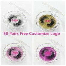 50 pçs vison cílios luxo natural longo vison cílios postiços cruz grosso extensão cílios 18 estilos logotipo livre atacado