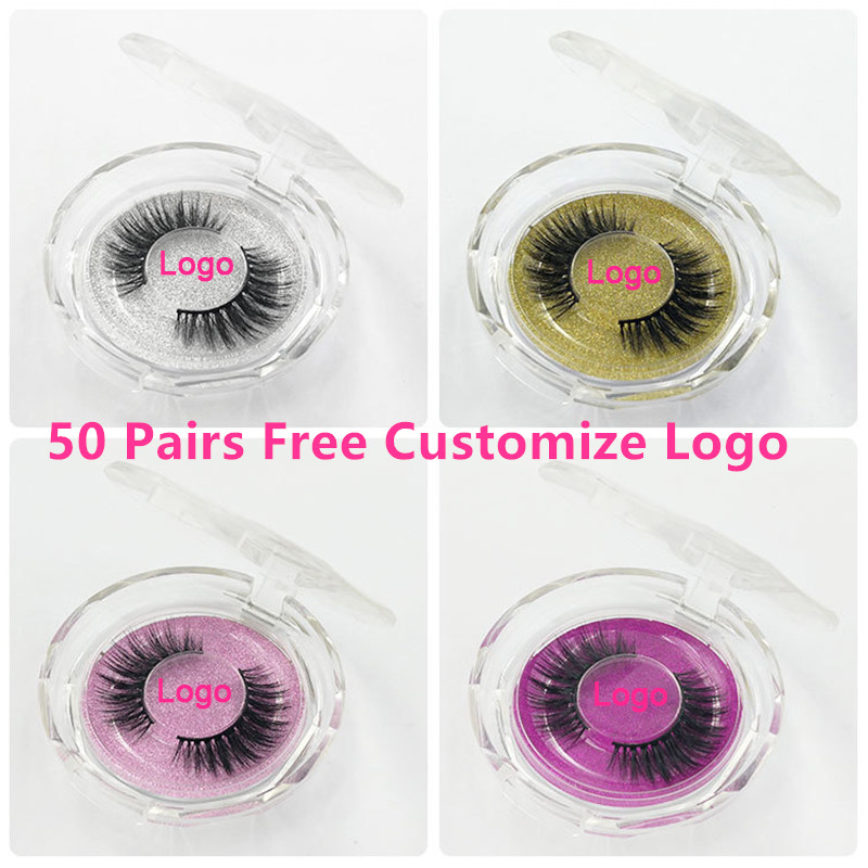 50pcs Mink Lashes Luxury Natural long Mink False Eyelashes Cross Thick Extension Eyelashes 18Styles Free Logo