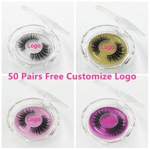 Image 1 - 50pcs Mink Lashes Luxury Natural long Mink False Eyelashes Cross Thick Extension Eyelashes 18Styles Free Logo Wholesale