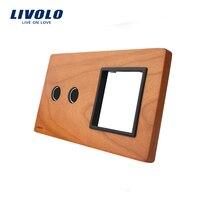 Free Shipping Livolo Cherry Wood Panel 151mm 80mm EU Standard 2Gang 1 Frame Wood Panel VL
