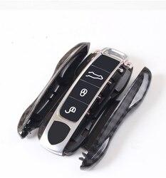Auto di alta Qualità ABS Chiave In Fibra di Carbonio Della Copertura Della Cassa Della Catena Per Porsche Macan 911 Panamera Cayenne 2018 Accessori di Ricambio