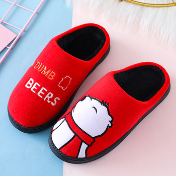 Cartoon Women Winter Home Slippers Cute Bear Non-slip Soft Winter Warm House Slippers Indoor Bedroom Lovers Couples Floor Shoes 3