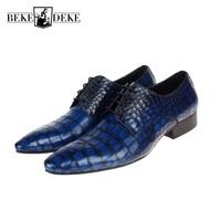 Fashion Genuine Leather Mens Dress Shoes Sales Blue Male Shoes Brogue Party Zapatos Pointed Toe Business