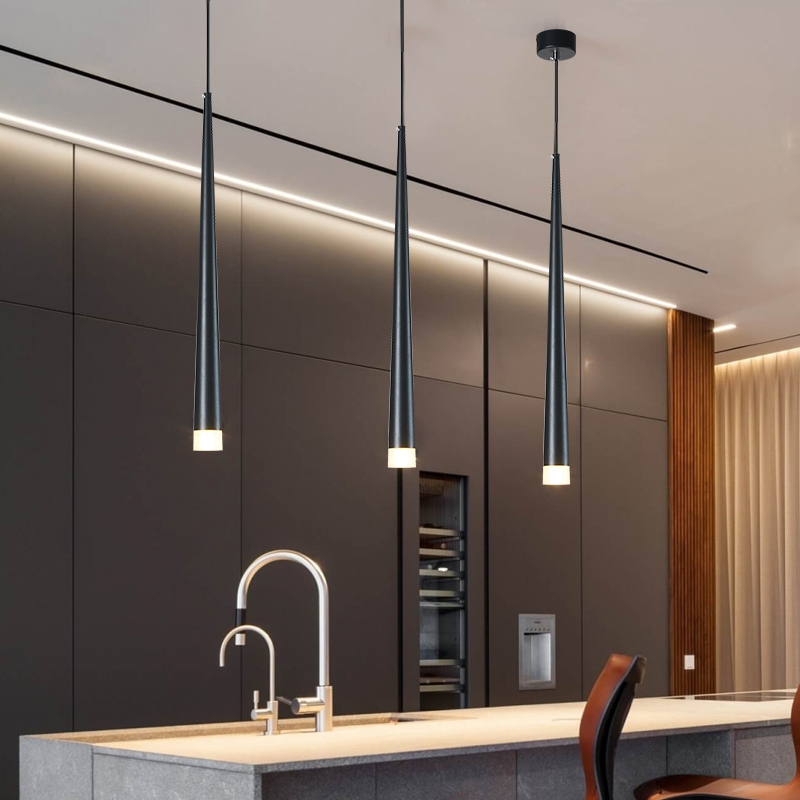 Nordic Led Chandelier Long Downlight Kitchen Restaurant Bar Cone Chandelier Decorative Chandelier Bedside Chandelier