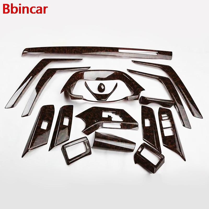 Bbincar 17PCS ABS Carbon Fiber Paint Front Dash Board Air Vent Panel Inner Door Interior Accessories For Toyota RAV4 RAV 4 2014