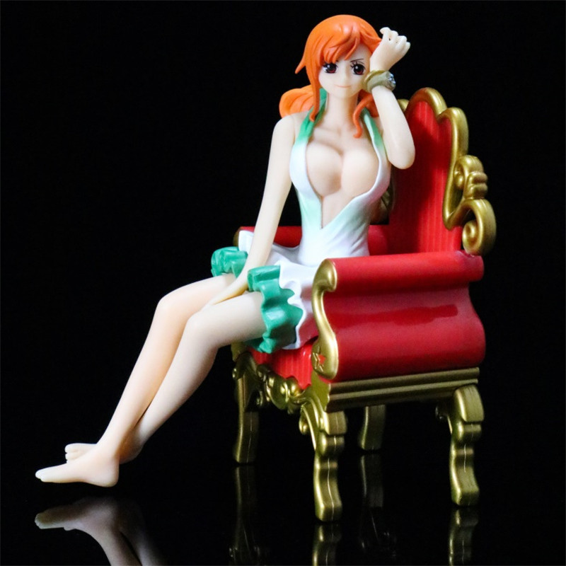 BWFC Anime ONE Piece Nami Girly Girls with Sofa Chairs Sitting Ver Sexy Action Figure Collection Model Toys