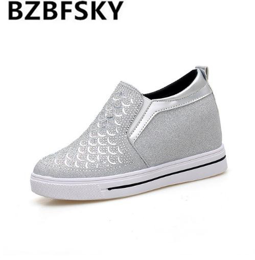 BZBFSKY2018 Fashion Women Vulcanized Shoes Breathable Ladies Casual Shoes Slip on Loafers Fashion Silver Fish Scales Flats