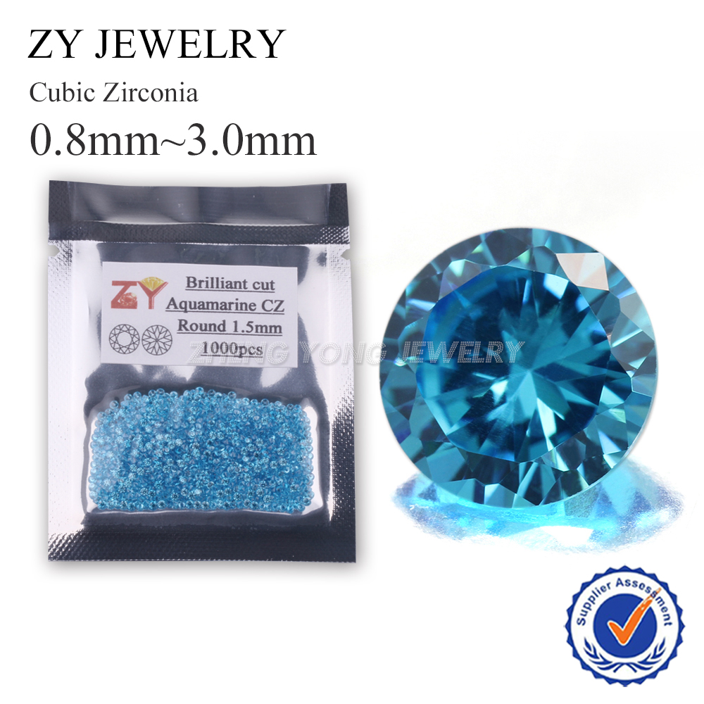 1.0-2.5mm Round Brilliant Cut Lab Created Aquamarine Loose Cubic Zircon Stone For Jewelry Making