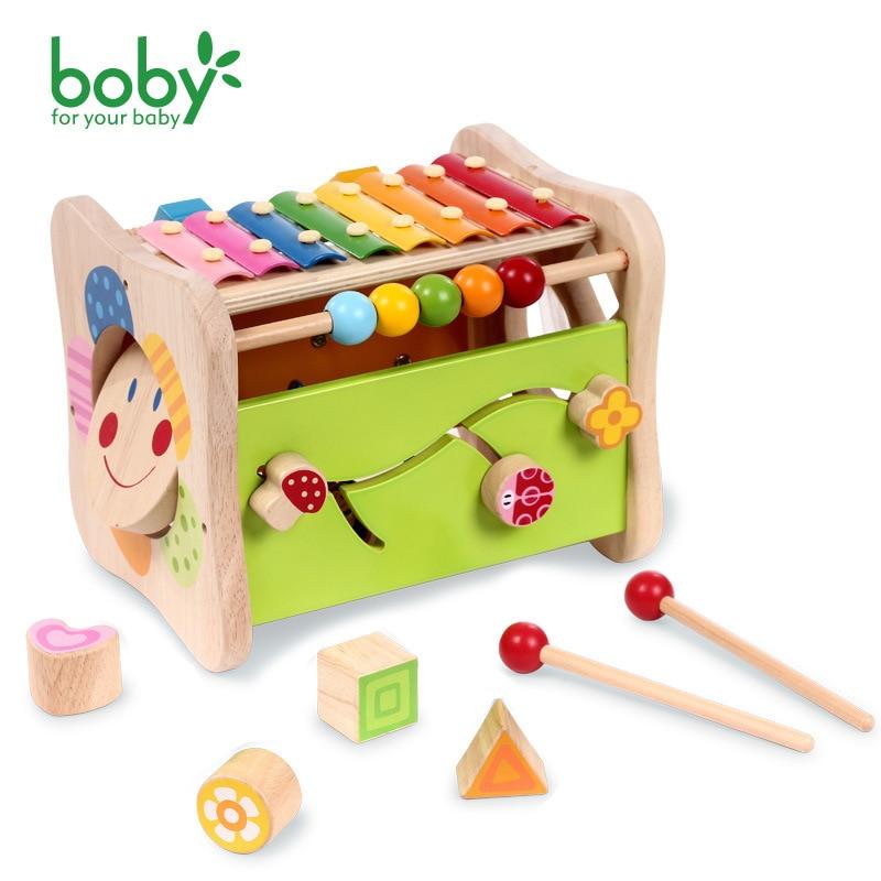 Jouets musicaux en bois jouer Cube d'activité avec Xylophone cadeau d'anniversaire enfants jouets éducatifs sur chaque famille jouets PUZ puzzl