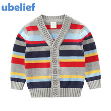 UBELIEF 2017 Boys Spring Autumn Broad Colorful Polychrome Stripe Sweater Cotton Kids Boy Clothing Baby Sweater Baby Girl Sweater