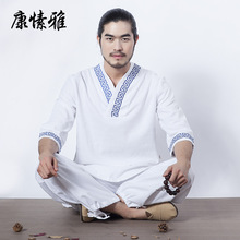 Spring Men Yoga Set Loose Yoga Top Shirts Wide Leg Yoga Pants Male Meditation Uniforms Kungfu Tai Chi Martial Arts Yoga Clothing autumn men yoga set tai chi kungfu clothes cotton linen chinese traditional loose shirt pant meditation martial arts uniforms