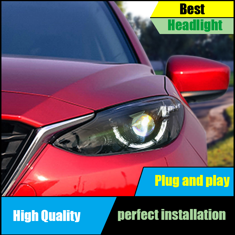 Car Styling head lamp For Mazda 3 Axela headlights 2014 2015 2016 front Bi-Xenon Lens Double Beam HID KIT Headlight Assembly