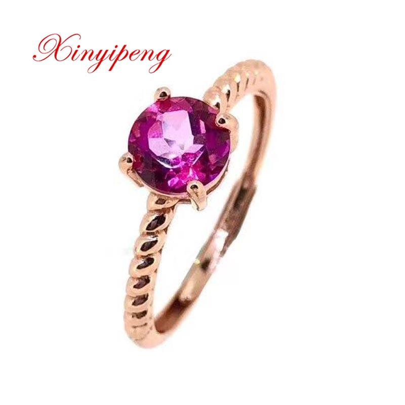 Xin yi peng 925 argent incrusté naturel rose pierre de topaze anneau les femmes anneau belle simple