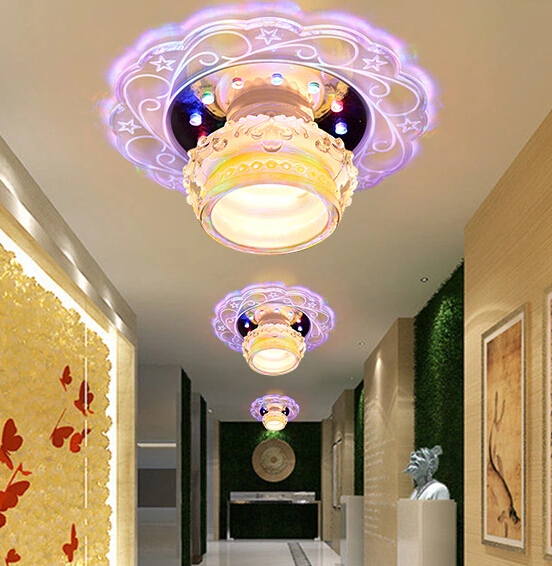 Colorpai 3W 5W Modern minimalist fashion led crystal ceiling lamp aisle lights entrance corridor lights Ceiling lights creative