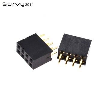 цена на 10/20/50/100PCS 2X4Pin Pin Header Socket gold plated 4Pin 2.54mm Row Straight Female Double